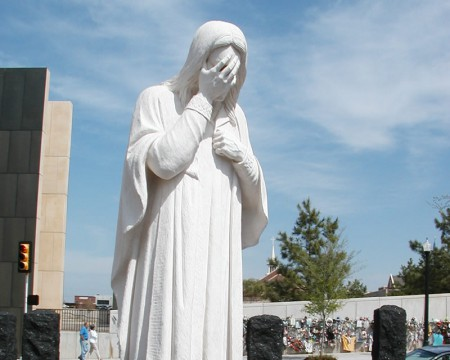 05-19-2002, Jesus Wept Statue outside of OKC Memorial. Photo by Jeremy Smith