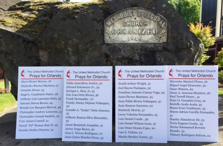 50 Names in front of cornerstone of First UMC, Portland, Oregon.