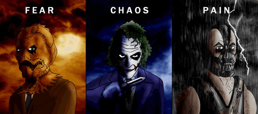 Fear. Batman. Chaos. Exile. Pain. Freedom.