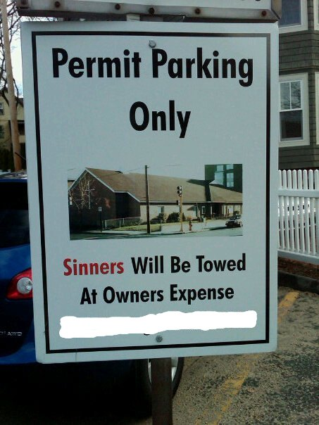 Sinners will be towed [humor]